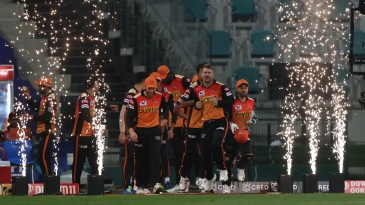 David Warner lead the Sunrisers Hyderabad out to the field