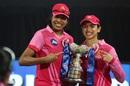 Jhulan Goswami and Smriti Mandhana pose with the 2020 Women's T20 Challenge trophy, Trailblazers vs Supernovas, Women's T20 Challenge 2020, Sharjah, November 9, 2020