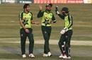 Usman Qadir, Babar Azam and Mohammad Rizwan celebrate a wicket, Pakistan vs Zimbabwe, 3rd T20I, Rawalpindi, November 10, 2020