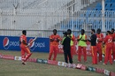 The Zimbabwe players give Elton Chigumbura a guard of honour in his last international game, Pakistan vs Zimbabwe, 3rd T20I, Rawalpindi, November 10, 2020