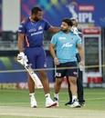 Kieron Pollard and Rishabh Pant catch up before the match, Mumbai Indians vs Delhi Capitals, IPL 2020 final, Dubai, November 10, 2020