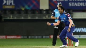 Jayant Yadav is pumped after bowling Shikhar Dhawan