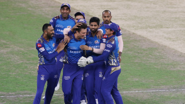 Mumbai Indians are all smiles after Trent Boult's early strike in the IPL 2020 final