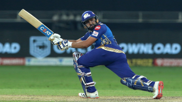 Rohit Sharma sweeps during his half-century in the IPL final