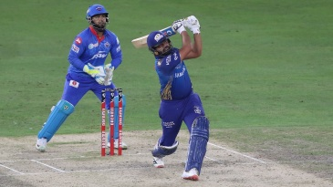 Rohit Sharma smashes one of his four sixes for the night