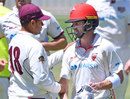 Callum Ferguson is congratulated by Usman Khawaja, South Australia v Queensland, Sheffield Shield, Glenelg, November 11, 2020