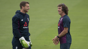 Bruce French shares a smile with Jos Buttler