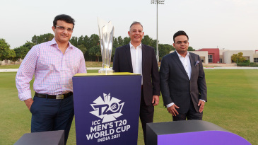Sourav Ganguly (BCCI president), Manu Sawhney (ICC chief executive) and Jay Shah (BCCI secretary) pose with the T20 World Cup