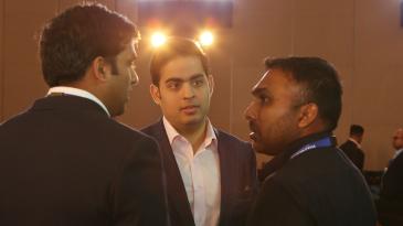 Mumbai Indians owner Akash Ambani talks to Mahela Jayawardene during the IPL auction