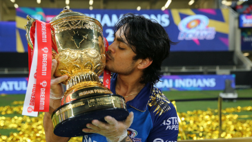 Ishan Kishan lifts the winners' trophy after Mumbai Indians clinched their fifth IPL title