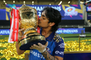 Ishan Kishan lifts the winners' trophy after Mumbai Indians clinched their fifth IPL title, Mumbai Indians vs Delhi Capitals, IPL 2020 final, Dubai, November 10, 2020