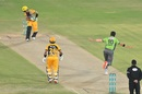Shaheen Afridi takes off after removing Haider Ali for a first-ball duck, PSL 2020, Lahore Qalandars vs Peshawar Zalmi, Karachi, November 14, 2020