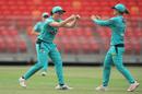 Grace Harris and Jess Jonassen celebrate a wicket, Brisbane Heat Women vs Sydney Sixers Women, WBBL, Sydey Showgrounds, November 17, 2020