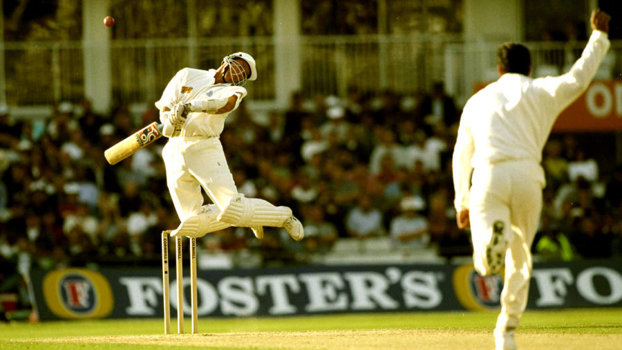 One flew over the Gaffer's head: Alec Stewart dodges a Wasim Akram bouncer