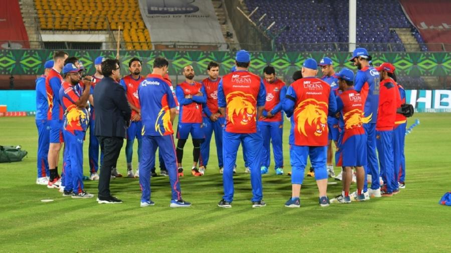 Karachi Kings' players and staff huddle up