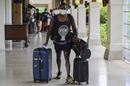 Angelo Mathews hauls his luggage upon arrival, LPL 2020, Hambantota, November 22, 2020