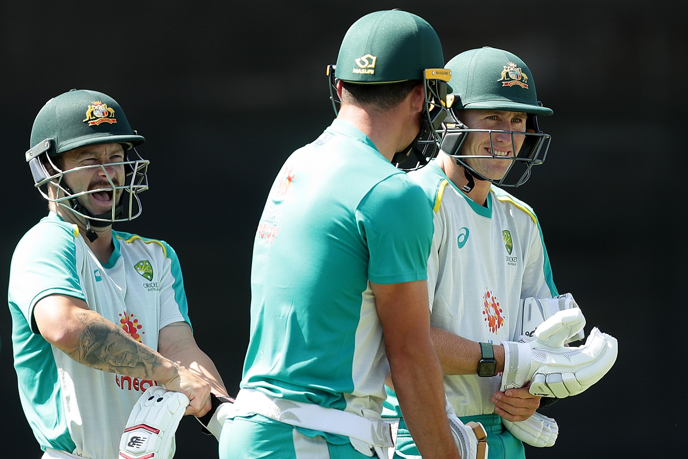 Matthew Wade and Marnus Labuschagne share a laugh during practice | Photo |  Global | ESPNcricinfo.com