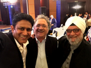 Ramachandra Guha (centre) takes a photo with Anil Kumble (left) and Bishan Bedi at the 2017 BCCI Awards, Bangalore, March 8, 2017