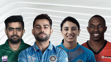 Composite: Babar Azam, Virat Kohli, Smriti Mandhana and Dwayne Bravo