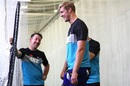 The long and the short of it: Kyle Jamieson and Luke Ronchi find a reason to smile, Auckland, November 26, 2020
