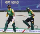 Najmul Hossain Shanto and Anisul Islam Emon walk out to bat, Minister Rajshahi vs Gemcon Khulna, Dhaka, November 26, 2020