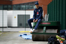 Steven Finn sits on a roller during a nets session before the South Africa series, Old Trafford, August 2, 2017