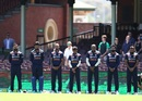 The Indian team sing the national anthem, kitted out in their new jerseys, Sydney, Australia vs India, 1st ODI, November 27, 2020