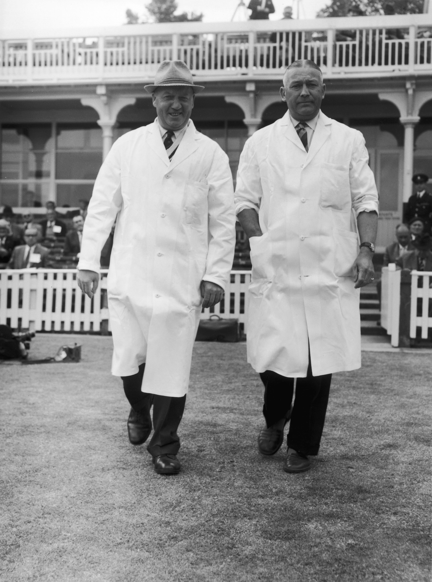 Syd Bullar and Frank Lee in 1961: they'll call a bye, they'll signal four runs, they'll sell you paracetamol, should you need one