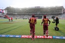 West Indies openers Brandon King and Andre Fletcher walk out to bat, New Zealand vs West Indies, 1st T20I, Auckland, November 27, 2020
