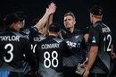 Tim Southee celebrates a wicket with his team-mates, New Zealand vs West Indies, 1st T20I, Auckland, November 27, 2020