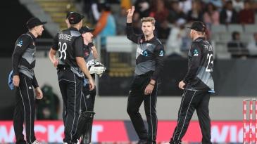 Lockie Ferguson celebrates after his five-wicket haul