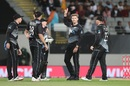 Lockie Ferguson celebrates after his five-wicket haul, New Zealand vs West Indies, 1st T20I, Auckland, November 27, 2020
