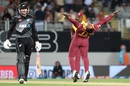 Sheldon Cottrell brings out his trademark celebration after getting Martin Guptill, New Zealand vs West Indies, 1st T20I, Auckland, November 27, 2020