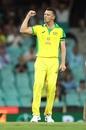 A fist pump after a successful over for Josh Hazlewood, Sydney, Australia vs India, 1st ODI, November 27, 2020