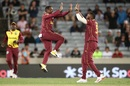 Fabian Allen and Kieron Pollard celebrate after Ross Taylor was run out, New Zealand vs West Indies, 1st T20I, Auckland, November 27, 2020