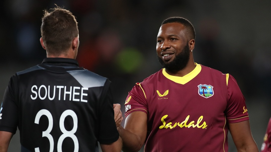 Tim Southee and Kieron Pollard greet each other after New Zealand beat West Indies in the first T20I