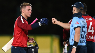 Sam Curran bumps fists with Tom after England's intra-squad warm-up - in which the younger brother dismissed the older
