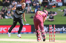 Kyle Jamieson is thrilled after bowling Brandon King first ball, New Zealand vs West Indies, 2nd T20I, Mount Maunganui, November 29, 2020