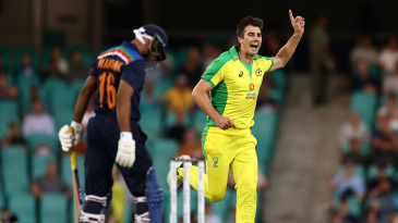 Pat Cummins celebrates the wicket of Mayank Agarwal