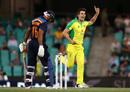 Pat Cummins celebrates the wicket of Mayank Agarwal, Australia v India, 2nd ODI, Sydney, November 29, 2020