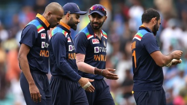 Virat Kohli with his pace bowling group - Mohammed Shami, Jasprit Bumrah and Hardik Pandya