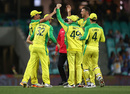 Moises Henriques celebrates with his teammates after a stunning catch, Australia v India, 2nd ODI, Sydney, November 29, 2020