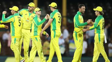 Australia celebrate a series-clinching win