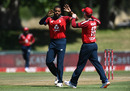 Chris Jordan celebrates with Eoin Morgan after removing Quinton de Kock, South Africa vs England, 2nd T20I, Paarl, November 29, 2020