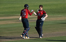 Chris Jordan and Eoin Morgan celebrate as the winning runs are hit, South Africa vs England, 2nd T20I, Paarl, November 29, 2020