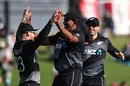 Glenn Phillips, Ish Sodhi and Lockie Ferguson celebrate a West Indies wicket, New Zealand vs West Indies, 2nd T20I, Mount Maunganui, November 29, 2020
