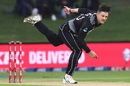 Hamish Bennett in his delivery stride, New Zealand vs West Indies, 3rd T20I, Mount Maunganui, November 30, 2020