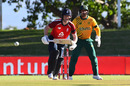Eoin Morgan watches the ball after playing a shot as Quinton de Kock looks on, South Africa vs England, 2nd T20I, Paarl, November 29 2020