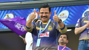 Venky Mysore cheers the Kolkata Knight Riders on during an IPL 2020 game