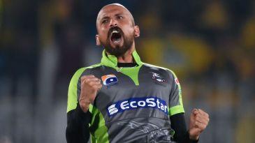 Dilbar Hussain celebrates a wicket
